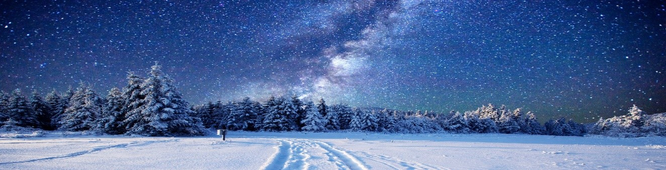 Winter Scenery with Stars & Light in the Sky